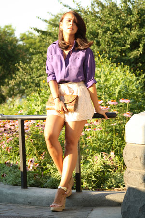 purple button down Lux shirt - gold espadrilles Michael Kors shoes