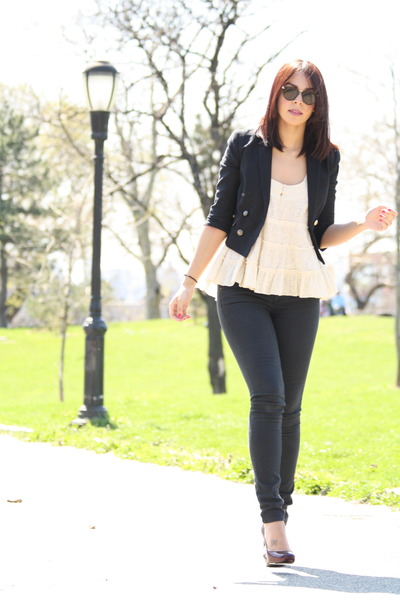 black Topshop jacket - beige Topshop top - black Topshop jeans - purple Te Casan
