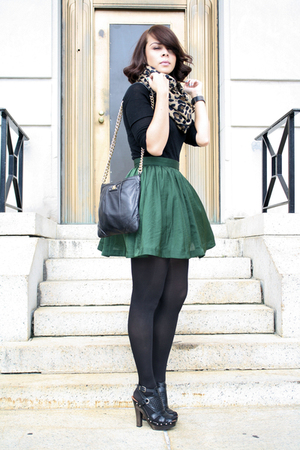 black Aldo shoes - beige leopard Zara scarf - black leather bag Marc Jacobs