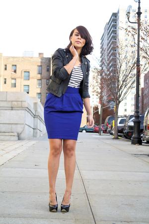 blue wool Topshop skirt - black Aldo shoes - black leather Bebe jacket