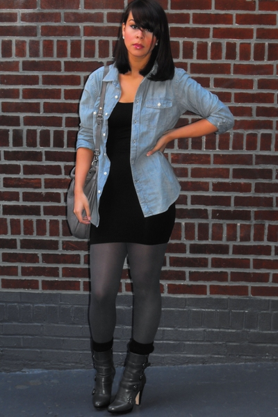 Gap shirt - American Apparel dress - Urban Outfitters tights - Boutique 9 boots