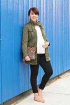 olive green Zara jacket - black Levis jeans - light brown Clare Vivier bag