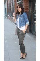 blue denim Gap jacket - black pumps bcbg  max azria shoes