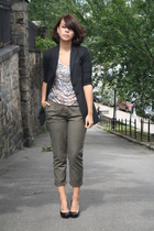 green olive H&M pants - black calvin klein shoes - black long Express blazer