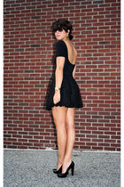 black platform calvin klein shoes - black lace H&M skirt