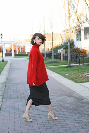 red Zara sweater - black American Apparel skirt - eggshell Aquazzura pumps