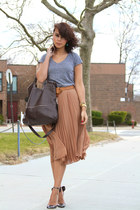 silver D&G shoes - dark brown foley  corinna bag - light brown Zara skirt - heat