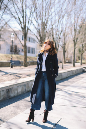 navy Ellen Tracy coat - dark brown saks boots - blue Gap jeans