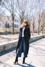 Dark-brown-saks-boots-navy-ellen-tracy-coat-blue-gap-jeans