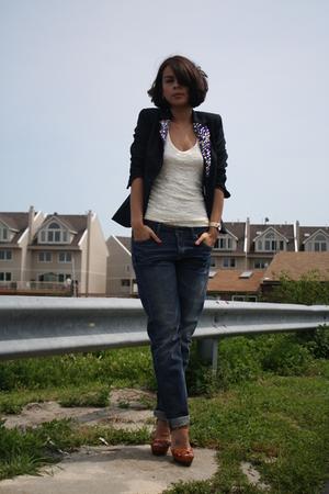 Zara blazer - forever 21 top - Topshop jeans - Michael Kors shoes
