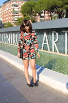 black floral Topshop dress - black penny loafers Bass shoes