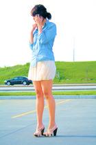 beige Aqua skirt - beige studded BCBGgirls shoes - blue denim Gap shirt