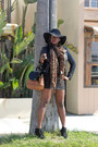 Lace-up-booties-boots-floppy-hat-hat-animal-print-scarf-skirt