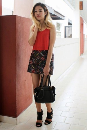 ruby red quilted skirt Topshop skirt - ruby red Topshop top