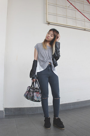 faux leather jacket - Topshop pants