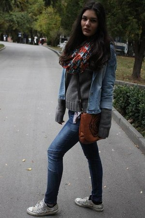 skinny jeans Zara jeans - jeans vintage jacket - Forever2 scarf