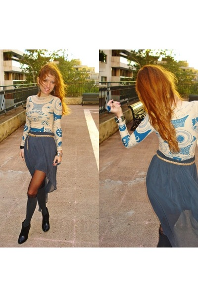 maison martin margiela X H&M top - Zara boots - Zara skirt