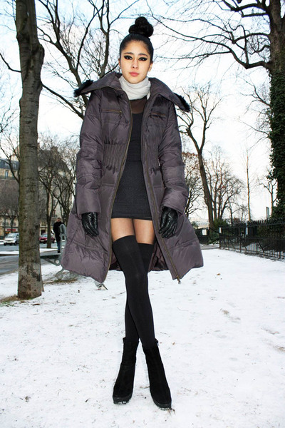 black American Apparel dress - black American Apparel socks - gray Mango coat