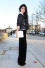 Black-velvet-pants-blue-dkny-jacket-white-longchamp-accessories