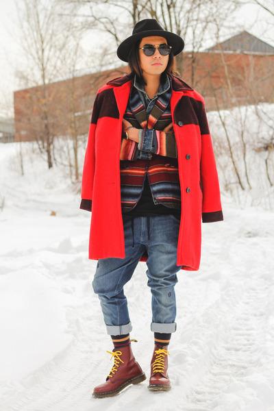 red wool coat woolrich jacket