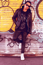 leather Viparo jacket - black tee obey shirt - dunks nike sneakers