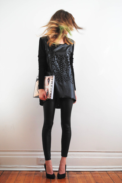 black lazer cut Zara top - black Call it Spring heels