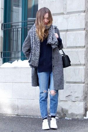heather gray vintage coat - blue Gap jeans - black messenger 31 Phillip Lim bag