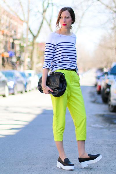 yellow Front Row Shop pants - black bcbg max azria bag