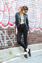 black leather jacket - black easy jeans American Apparel jeans