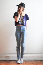 deep purple crop Young Ghosts top - sky blue easy jeans American Apparel jeans
