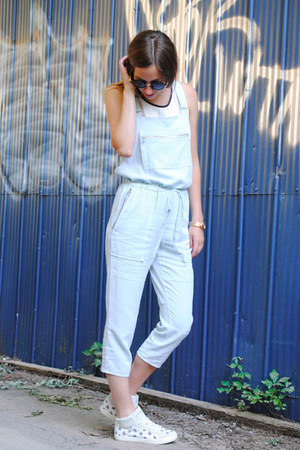 white Zara top - sky blue dungarees Aritzia bodysuit - white Feiyue sneakers