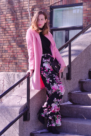 pink OASAP coat - black flower Forever 21 pants - black thrifted vintage top