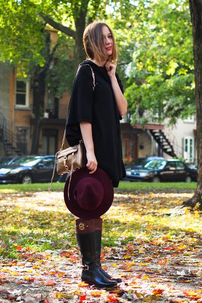 black Michael Kors boots - maroon H&M hat - camel minimac Rebecca Minkoff bag