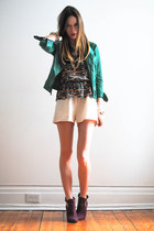 green leather Zara coat - dark green aztec Sugarlips Apparel romper