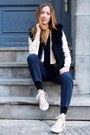 Peach-converse-sweater-light-pink-club-monaco-blazer-navy-club-monaco-vest