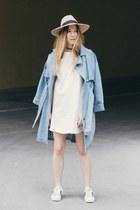 light blue denim trench Joa coat - white Joa dress - tan Ace of Something hat