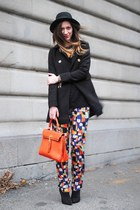 orange Aldo bag - black H&M coat - orange Sugarlips pants