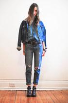 crimson Topshop boots - blue Gap jeans