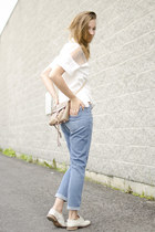 white OASAP shirt - blue Paige Denim jeans - tan Rebecca Minkoff bag