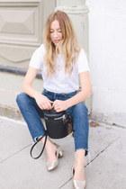 white Frank & Oak t-shirt - eggshell grandma Aldo shoes - blue Levis jeans