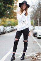 white eLUXE sweater - black Jeffrey Campbell shoes - black Choies jeans