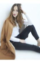 brown Aritzia coat - black Smart Set jeans - white 424 Fifth top