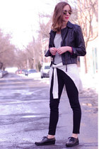 black Get plenty jeans - black leather twik jacket - white Get Plenty sweater