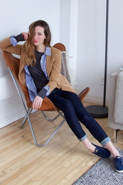 bronze Forever 21 blazer - navy Aritzia jeans - blue Joe Fresh shirt