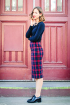 brick red tartan Zara skirt - navy Zara top - black Jeffrey Campbell loafers