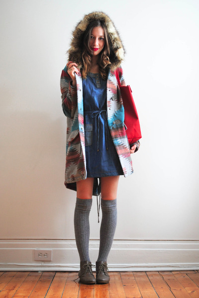 BB Dakota coat - blue denim Forever21 dress - red Lacoste bag