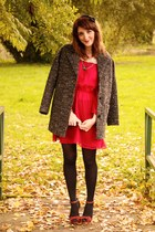 H&M coat - asos dress - new look heels