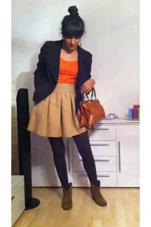 Zara skirt - Zara boots - Mango blazer - H&M t-shirt