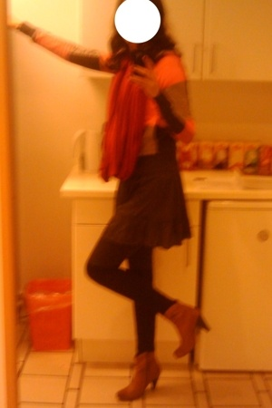 DIY scarf - H&M sweater - asos dress - Super Best leggings - asos socks - Din Sk