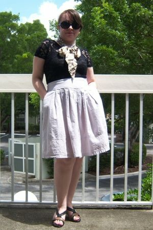 black Charlotte Russe top - black Express top - beige In Moda skirt - black Mari